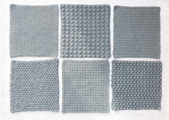 Six crochet stitch tutorials that are a beautiful sampler of different stitch options.