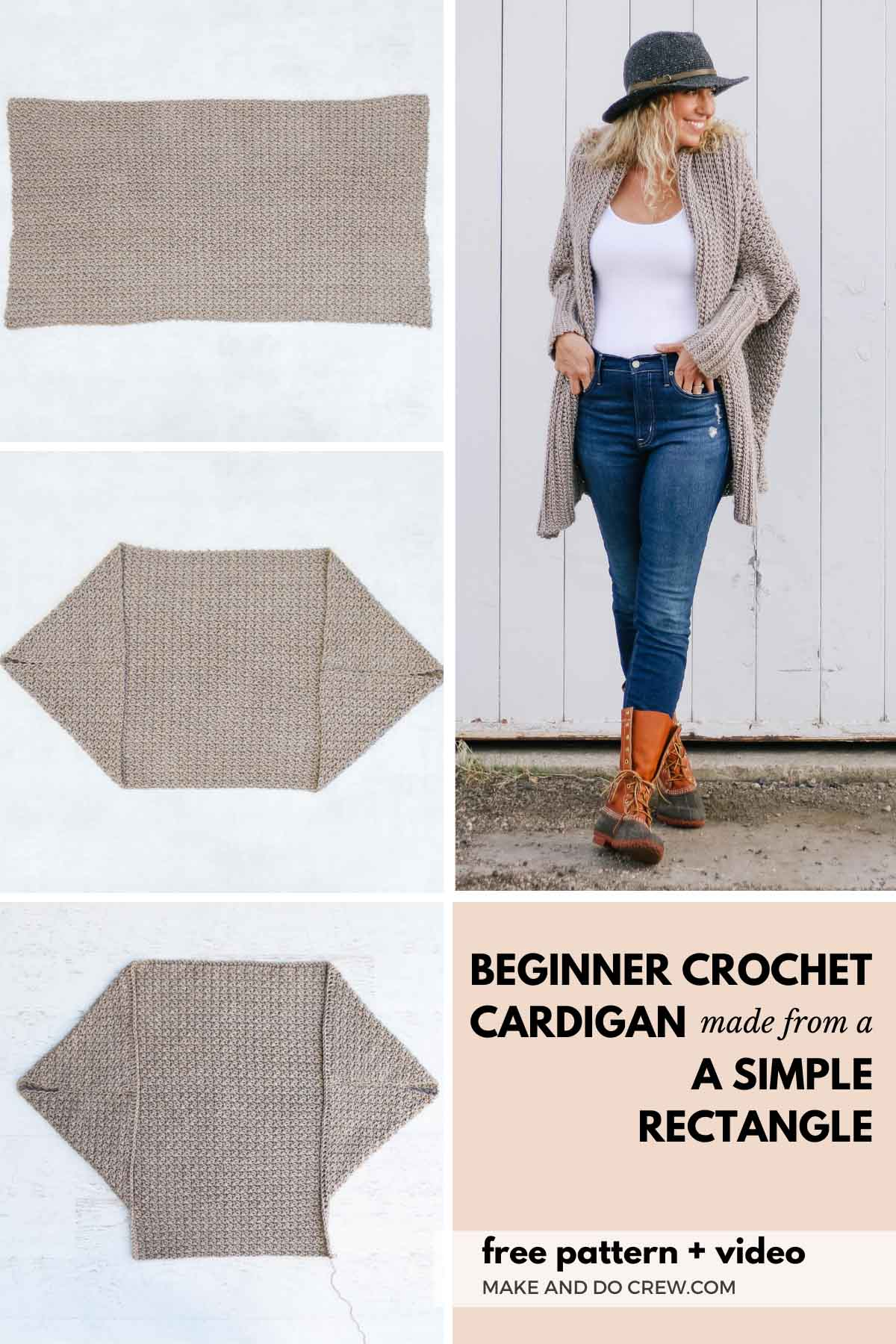 A step by step tutorial showing how to turn a crochet rectangle into a stylish, baggy crochet cardigan pattern.