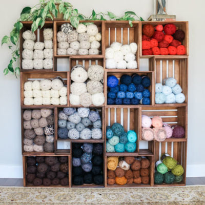 DIY Yarn Storage Shelves Using Wooden Crates u2013 Video Tutorial & Things To Make - Make u0026 Do Crew