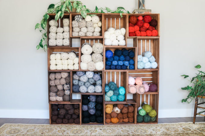 DIY Yarn Storage Shelves Using Wooden Crates – Video Tutorial