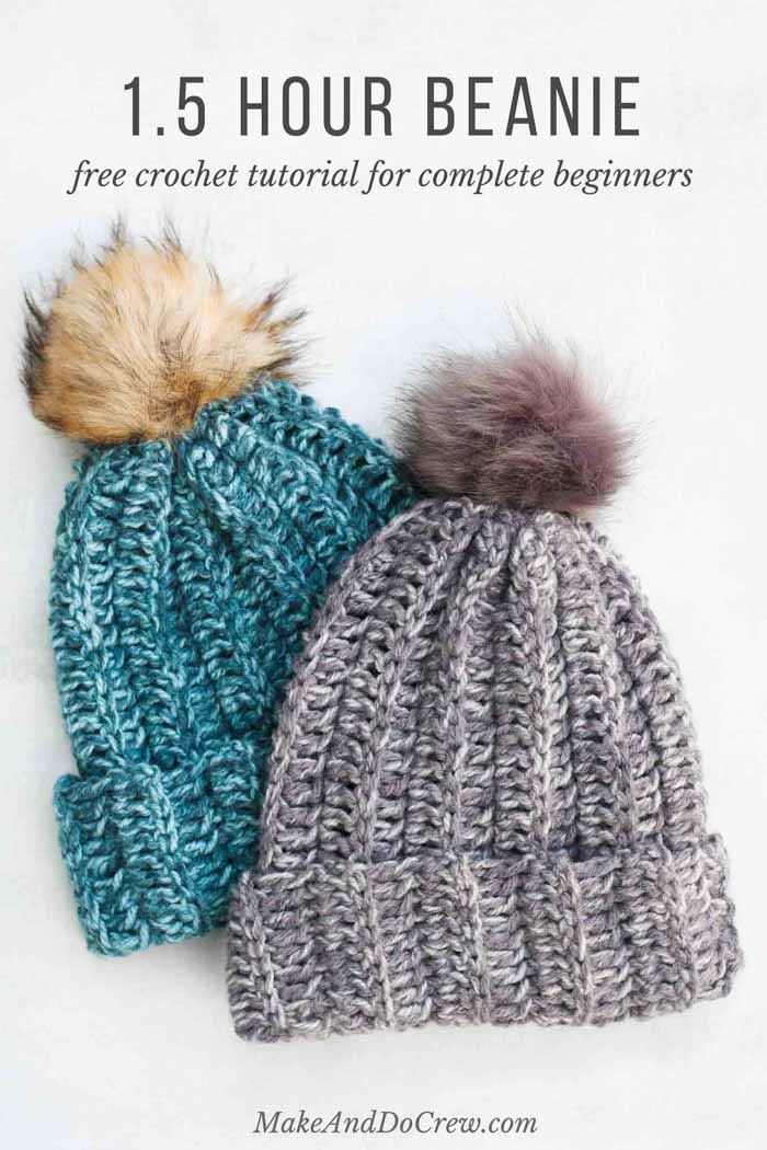 1.5 Hour Beanie – Free Crochet Hat Pattern for Beginners + Video Tutorial 7a8c16111656