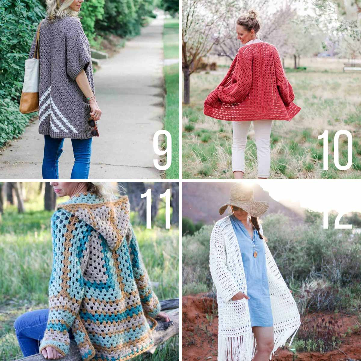 Four free crochet cardigan patterns made from rectangles or hexagons. Easy for beginners!