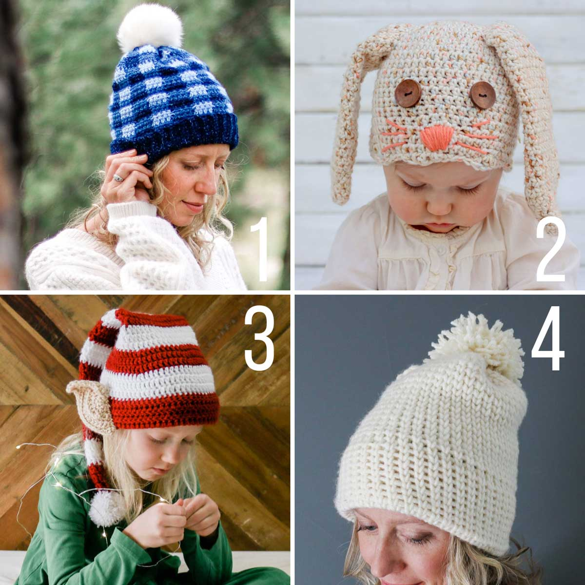 Free crochet hat patterns, including a plaid crochet beanie, a floppy-eared bunny hat, a Santa's helper Elf hat, and a knit-look crochet beanie.