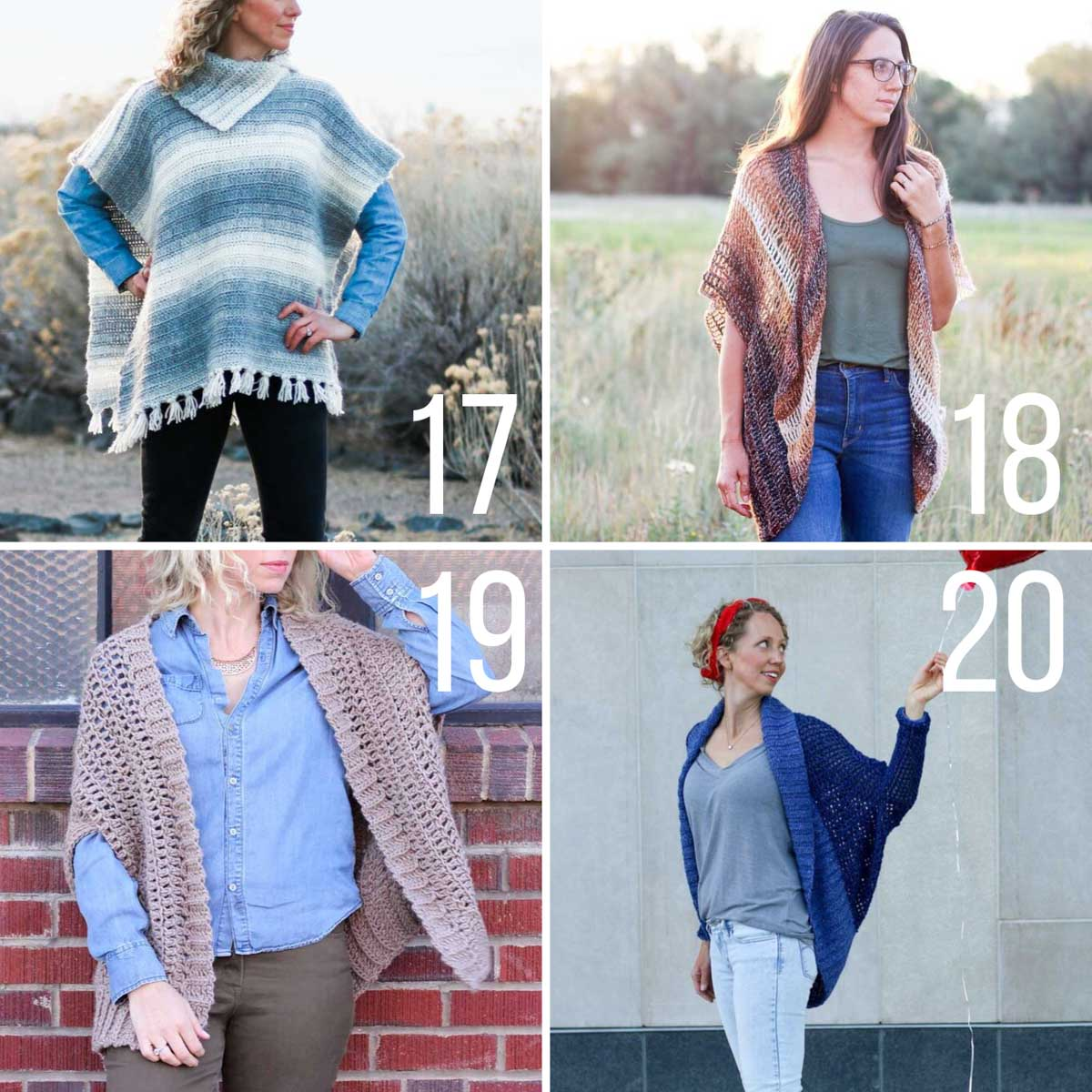 Four free crochet sweater patterns with no shaping. These are easy and great for beginners!