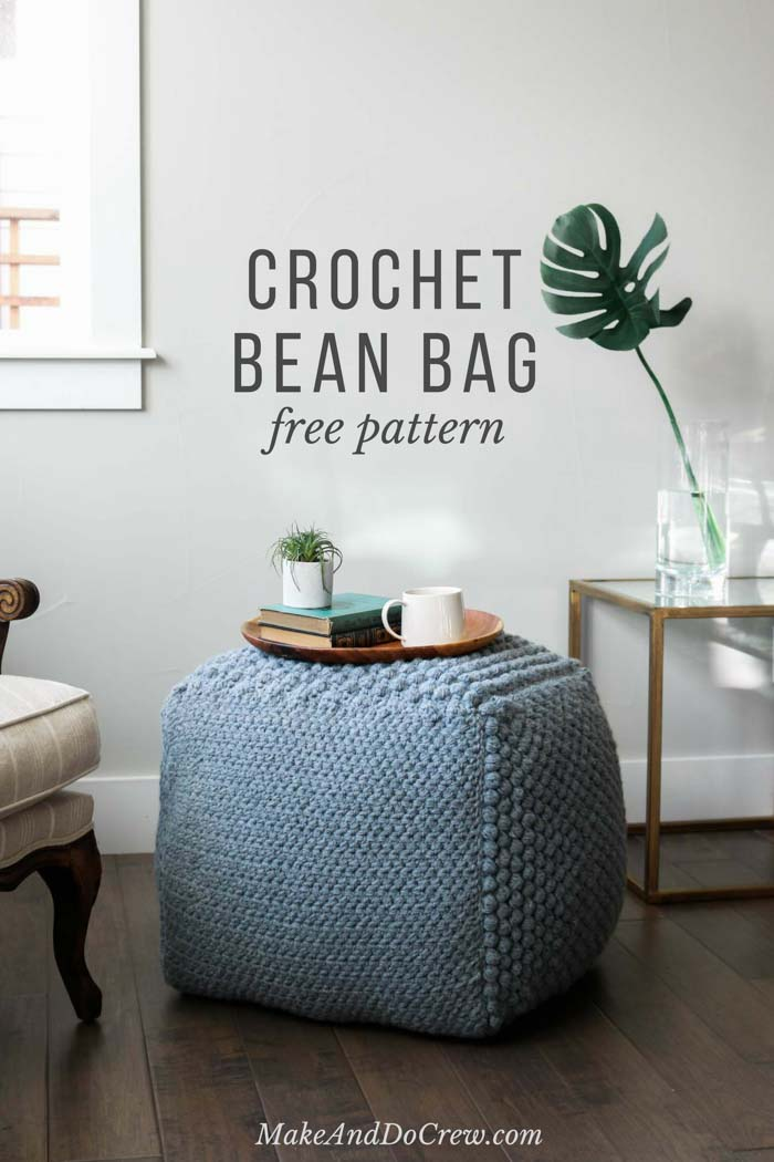 This Free Crochet Pouf Pattern Uses Economical Yarn To Make