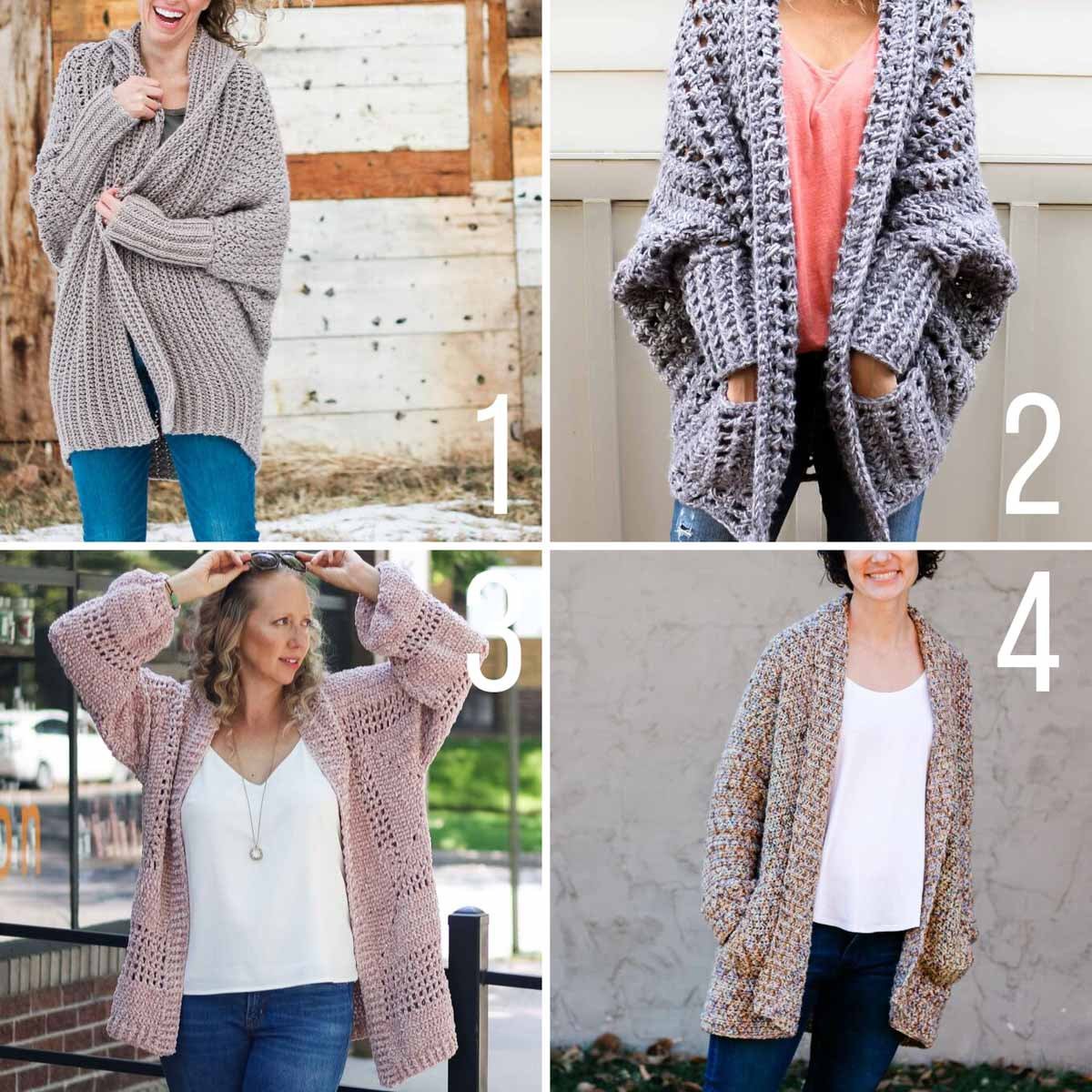 Four free crochet sweater patterns perfect for beginners. Video tutorials make these cardigans easy to try!