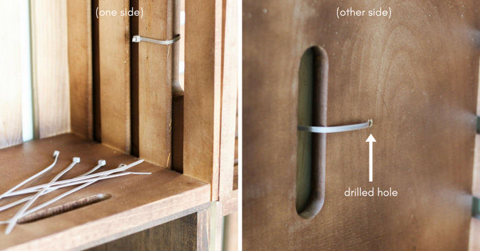 Learn how to build simple DIY yarn storage shelves for a closet or craft room using wooden crates and zip ties.
