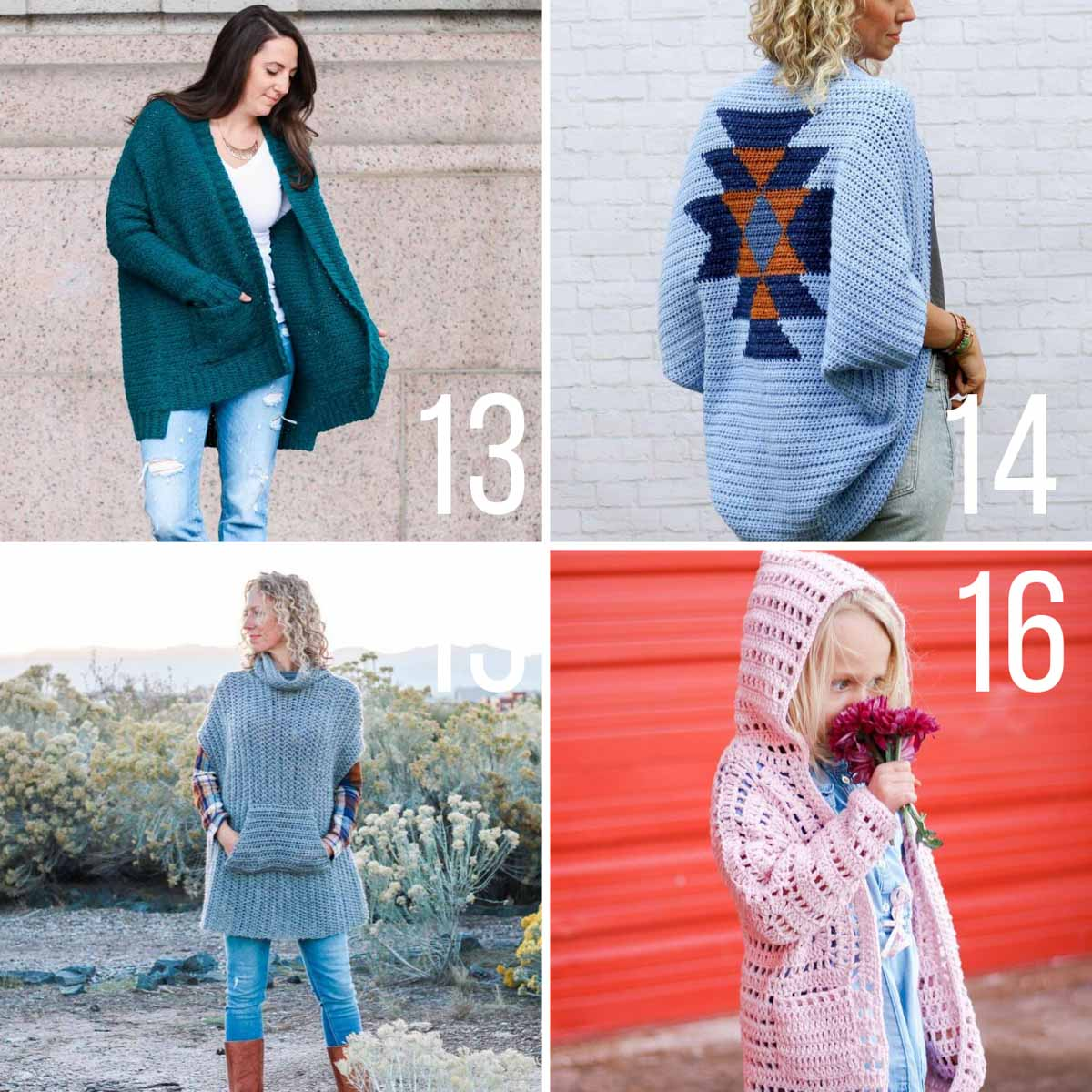 Four free crochet patterns including a cardigan sweater, a shrug, a poncho and a child's hexagon cardigan.