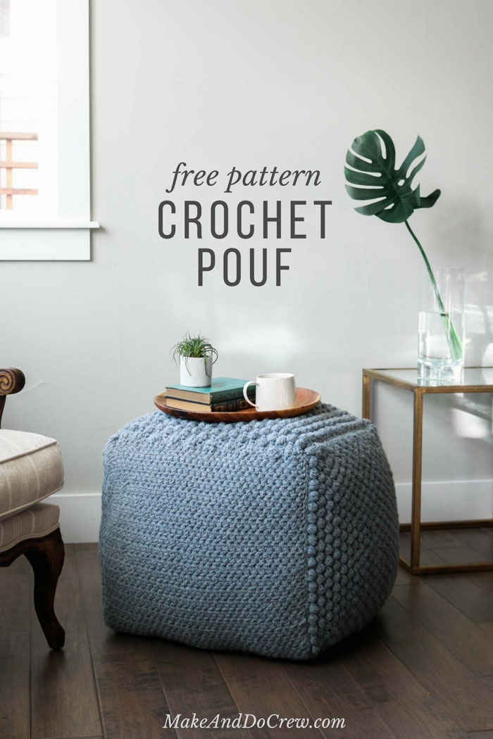 Love this! Learn some new stitches while crocheting your own oversized pouf ottoman. This free crochet bean bag pattern is comprised of six simple squares and stuffed with inexpensive household items to create a high-end looking piece of DIY furniture.