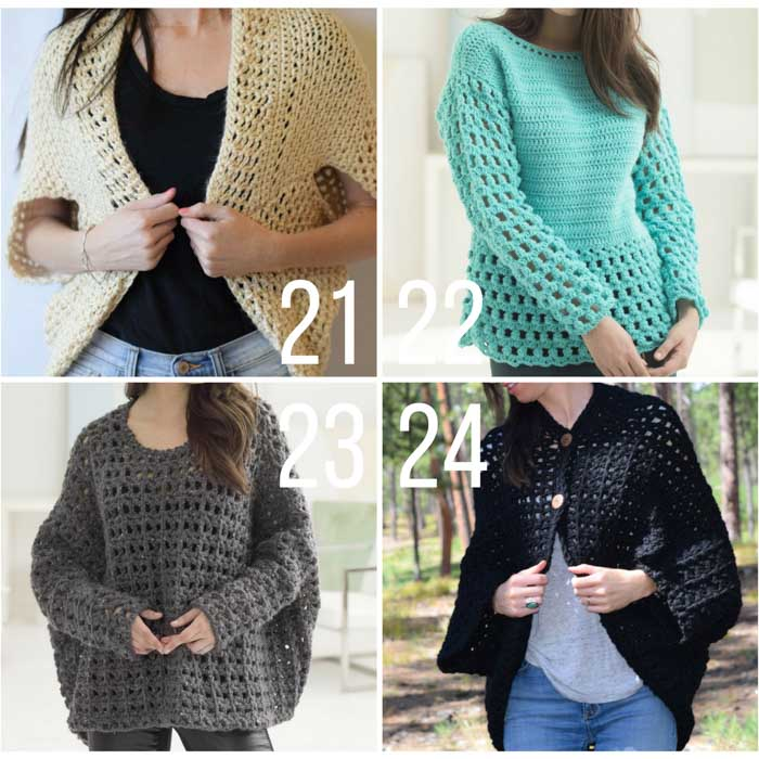 9723b0b95 Free crochet pullover sweater patterns. These cardigans