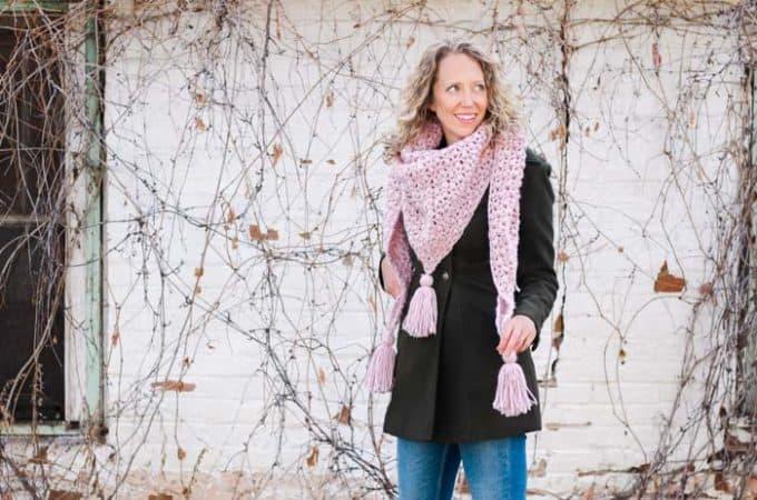 Easy Lace + Puff Crochet Shawl Video Tutorial