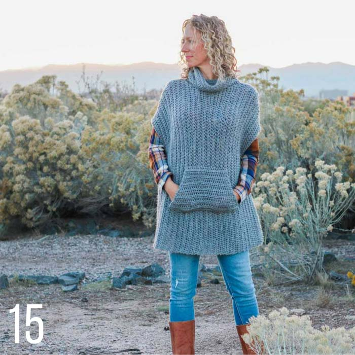 This free crochet poncho pattern uses half double crochet stitches to mimic the look of knitting. Part of a collection of free crochet patterns that look knit from Make & Do Crew.