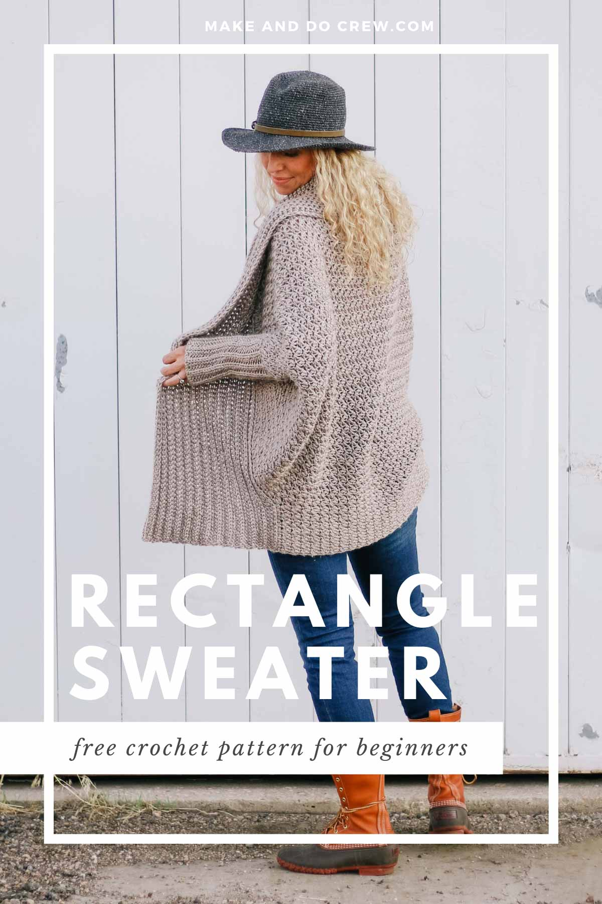 A cocoon cardigan crocheted with dolman sleeves is made from a simple crochet rectangle. Free pattern + video tutorial.