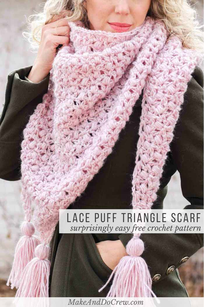 Dreamy! This lace crochet triangle scarf doubles as a shawl with tassels too. This free pattern featuring Lion Brand yarn is so much easier than it looks!