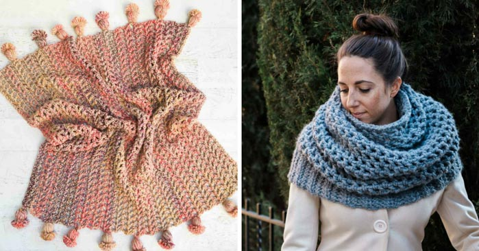 Free crochet blanket and cowl pattern from Make and Do Crew featuring Lion Brand Yarn.