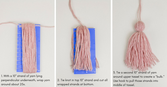Learn how to make a yarn tassel in this free step-by-step tutorial from Make and Do Crew featuring Lion Brand yarn Touch of Alpaca.