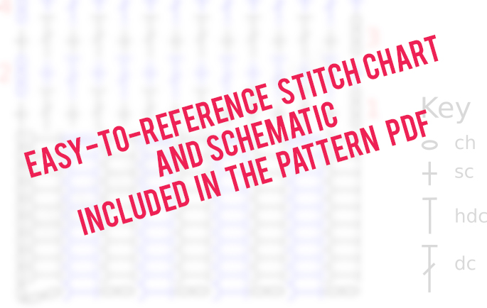The Staycation Cardigan crochet pattern PDF includes a griddle crochet stitch chart as well as a sweater schematic.