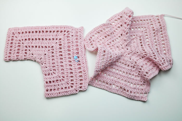 How to crochet a child's sweater out of two hexagons with eyelets, featuring Lion Brand yarn.