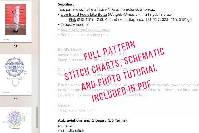 Screen grab of kids crochet cardigan pattern PDF from Make and Do Crew.