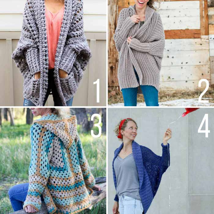 Four modern crochet sweater patterns that include plus sizes. Free patterns from Make & Do Crew featuring Lion Brand Yarn.