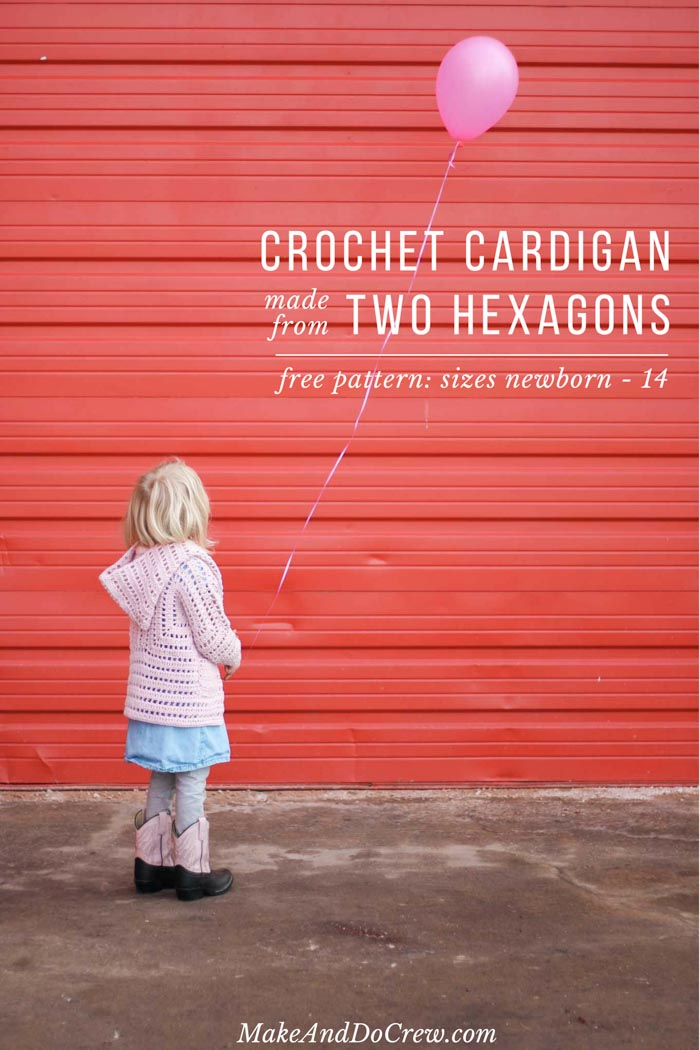 This little girl's crochet sweater is made from two simple hexagons and perfectly adorable for Valentine's Day or Easter. Free pattern and tutorial featuring Lion Brand Feels Like Butta yarn.