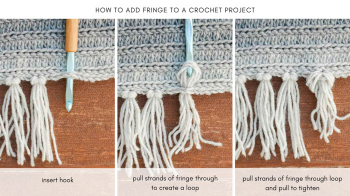 Tutorial showing how to add fringe to a knit or crochet project.