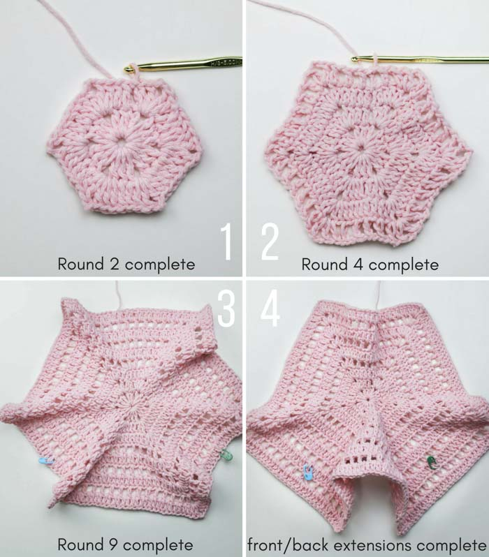 How to crochet a hexagon sweater step-by-step tutorial.