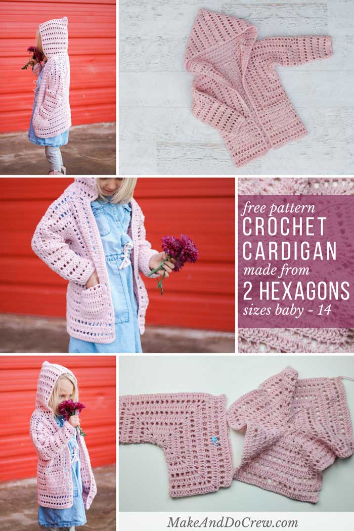 Oh my! This adorable little girl's crochet cardigan pattern is made from two easy hexagons. The free pattern and tutorial explains how to make this sweater for newborns, babies, toddlers, preschoolers, older girls and teens. Made with Lion Brand Feels Like Butta yarn.