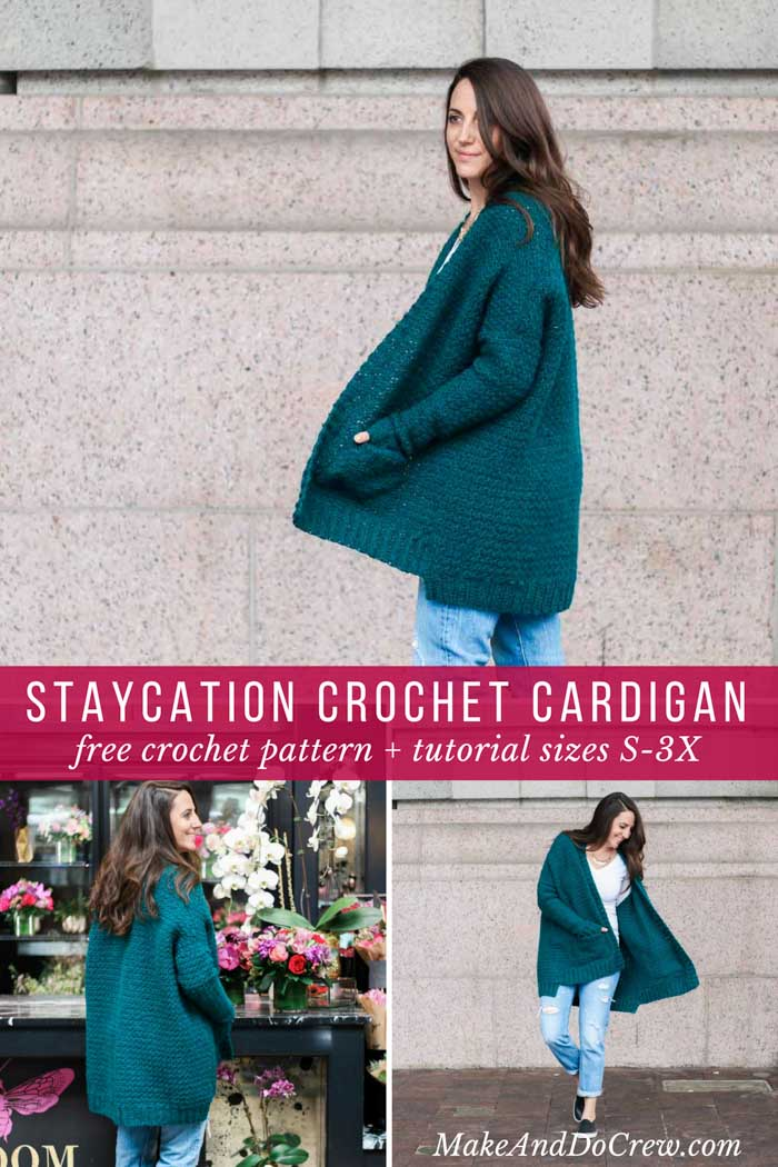 The perfect sweater for lazy days. The Staycation crochet cardigan pattern (which includes petite and plus sizes!) is an easy flattering sweater that uses the griddle crochet stitch and Lion Brand Touch of Alpaca yarn. Free pattern and step-by-step tutorial!