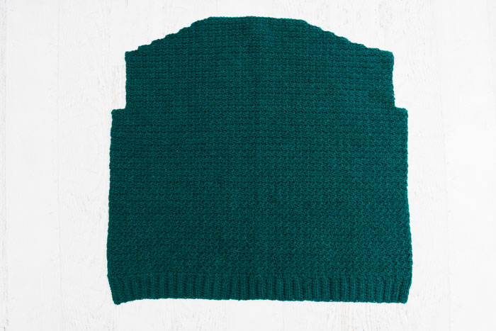 "How to crochet a cardigan step by step: crocheting the back out of Lion Brand Touch of Alpaca Yarn in ""Jade."""