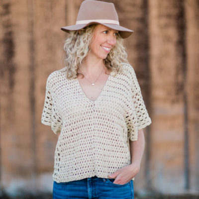 """Summer crochet top free pattern made from two rectangles. Lion Brand LB Collection Cotton Bamboo in """"Magnolia."""""""