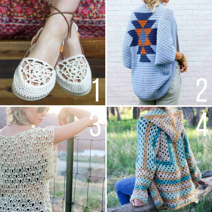 Free boho crochet patterns including sandals with flip flop soles, a hexagon sweater, and an Aztec shrug.