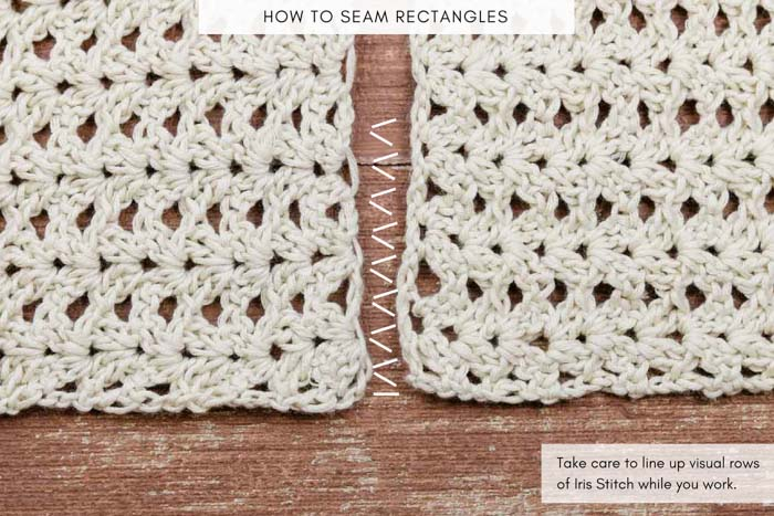 How to seam two crochet pieces together - free photo tutorial.