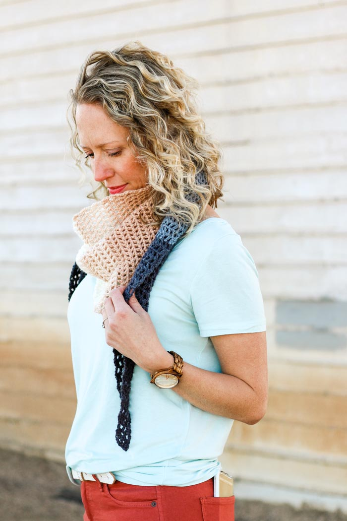 Make an easy crochet triangle scarf with this free Lion Brand Mandala scarf pattern. This one skein crochet project makes a perfect, fast gift.