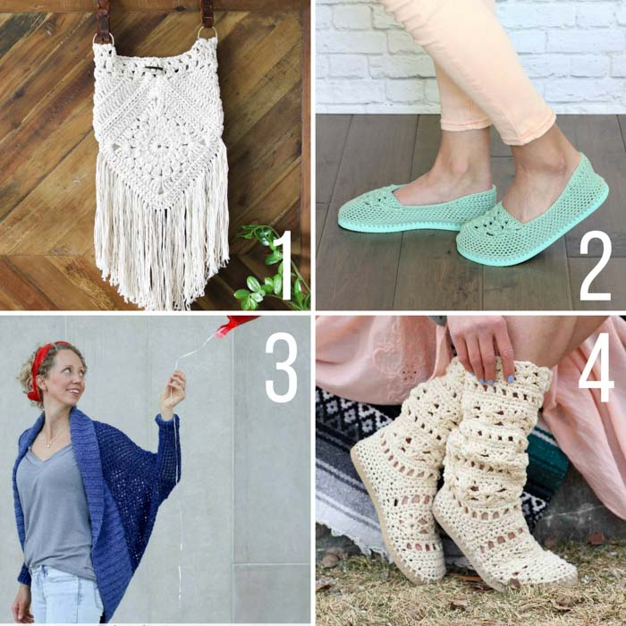 Free crochet patterns for summer including a boho bag, slippers with flip flop soles, easy shrug and crochet boots.