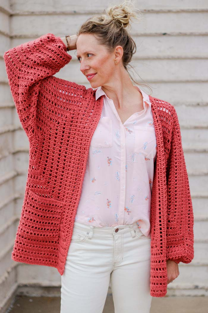 "How to crochet a hexagon sweater - step-by-step tutorial featuring Lion Brand Vanna's Style in the color ""Tomato."""