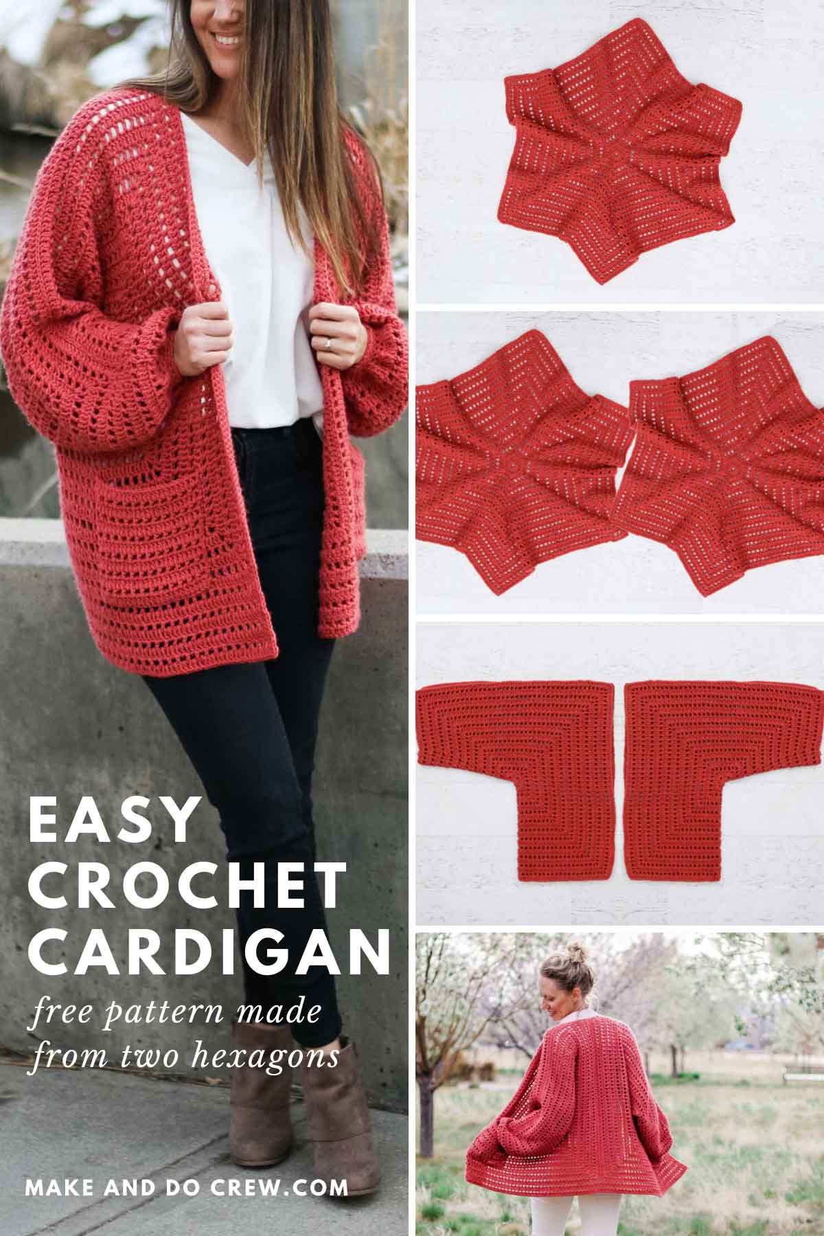 A grid of photos of a crochet cardigan made from hexagons. The sweater has pockets and bishop sleeves.