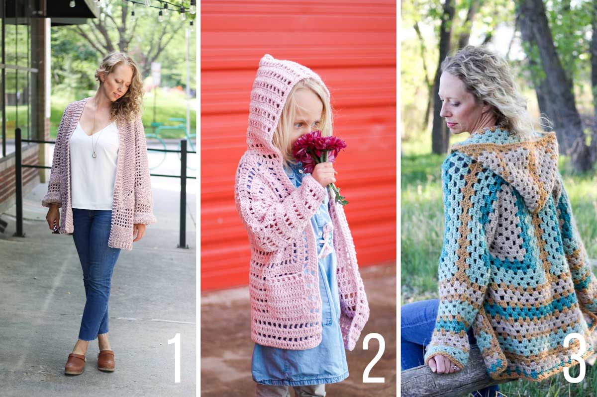 Free crochet patterns for sweaters made from hexagons.