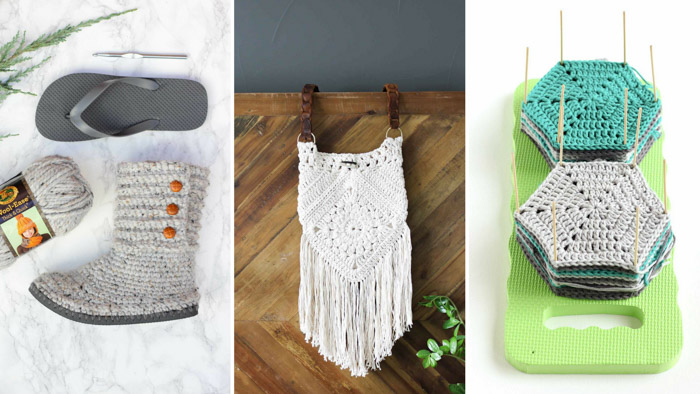 Earth Day craft ideas included crocheted flip flop boots, upcycled belt purses and a crochet blocking board made from a kneeling pad.