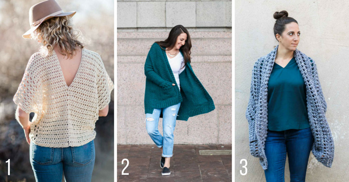 Easy crochet poncho patterns, cardigan patterns and sweater patterns featuring Lion Brand Yarn designed by Make & Do Crew.
