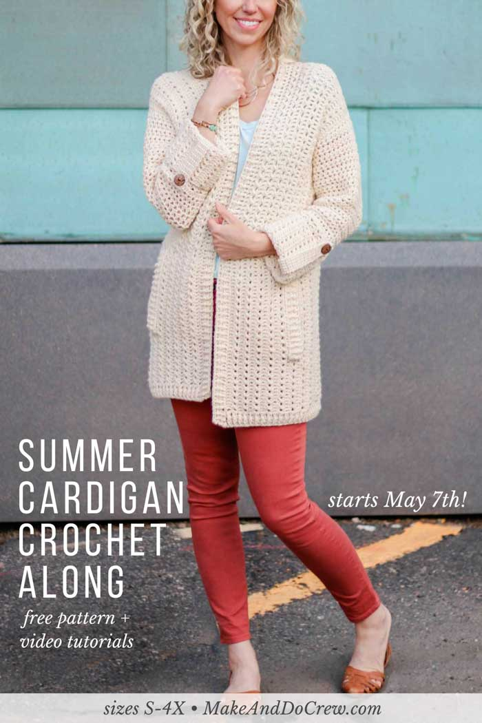 The Alchemy Cardigan Crochet Along 2018! Join Make & Do Crew and LoveCrochet.com each each week in May to learn to crochet your own modern, lightweight cardigan, aided by real-time support and weekly step-by-step video tutorials! Improve your skills and make a sweater you're proud of! Featuring DK weight Lion Brand Vanna's Style.