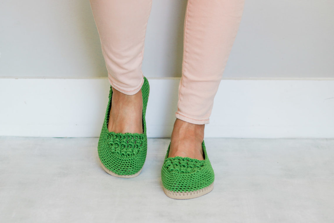 "Learn how to crochet shoes with flip flop soles in this easy free crochet pattern and tutorial. Because of their flip flop soles, these DIY kicks work well equally well as house slippers or outdoor shoes. Free pattern and video tutorial featuring Lion Brand 24/7 Cotton in the color ""grass."""