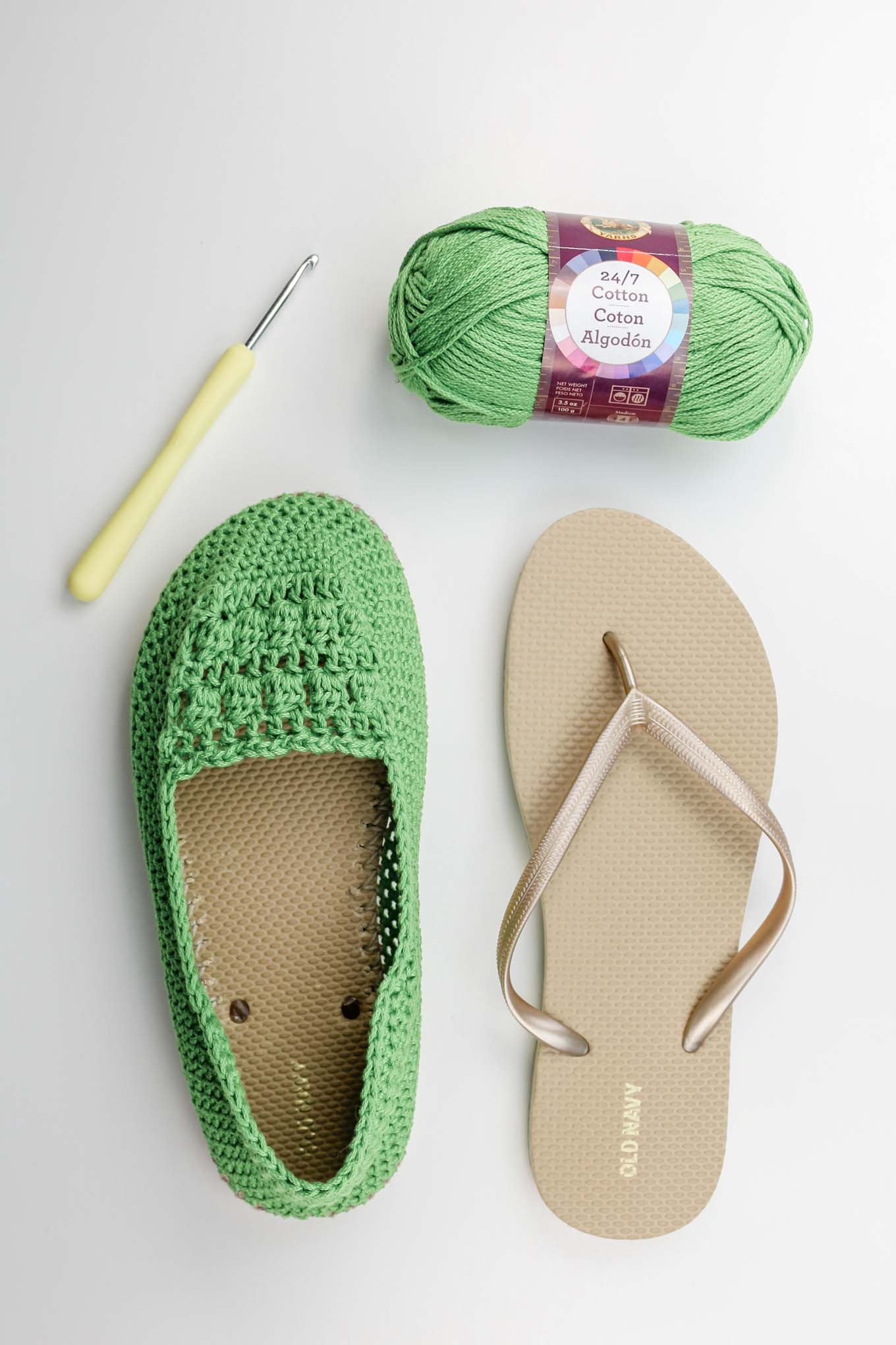 Learn how to crochet shoes with rubber flip flop soles using Lion Brand 24/7 Cotton.