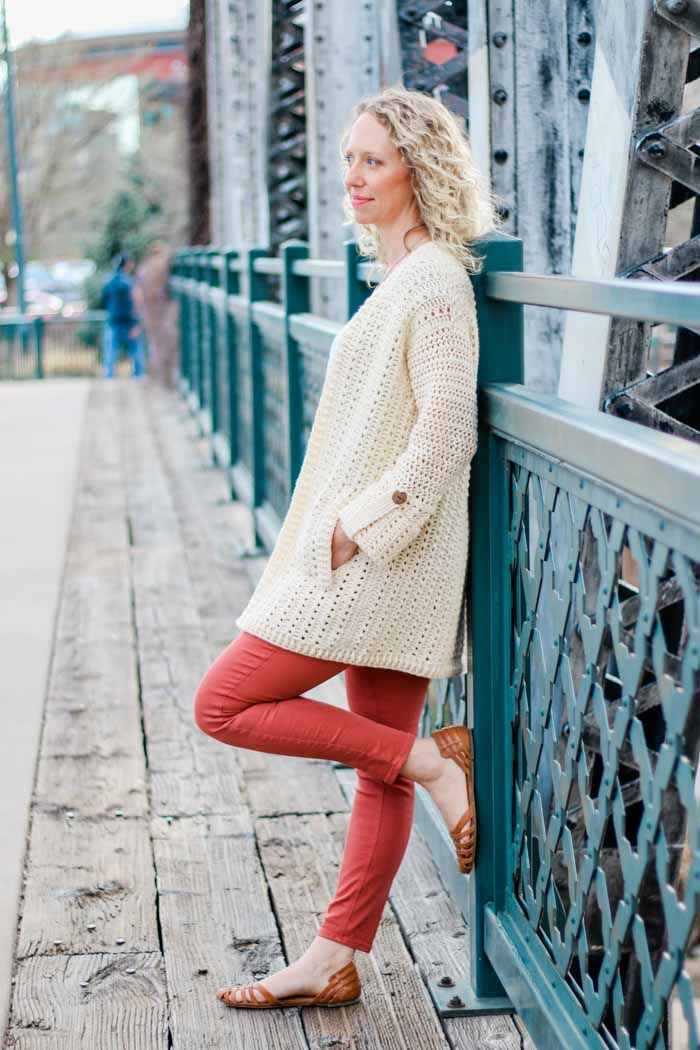 Learn how to crochet and easy cardigan sweater with this free pattern and video tutorial.