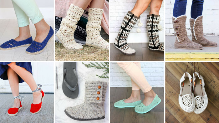 Loads of free crochet slipper and shoe patterns that use flip flops for the soles. Perfect to wear indoors or outdoors. All patterns made with Lion Brand yarn. Lots of video tutorials too!