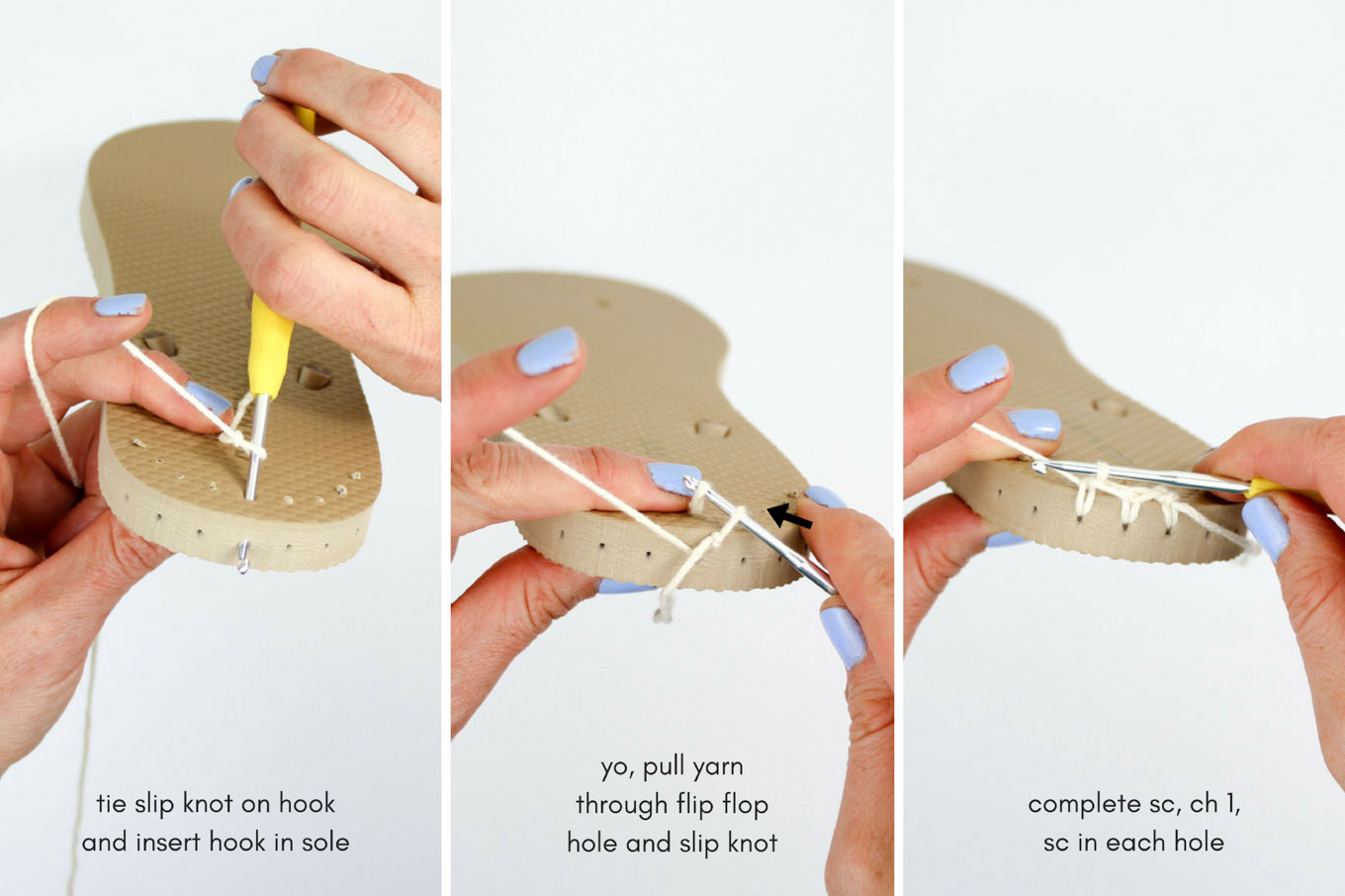 Photo and video tutorial: How to crochet on flip flops (thongs) to make slippers and functional shoes.