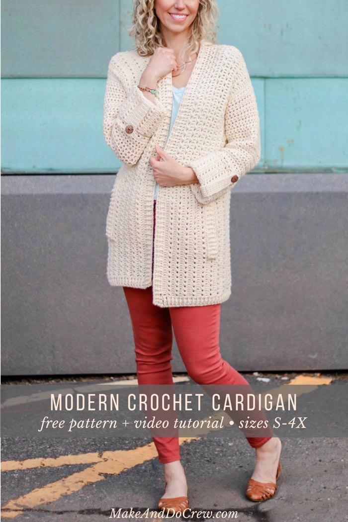 Learn how to crochet a modern cardigan with pockets in this free pattern and video tutorial series. Such a fun crochet along to do in 2018!