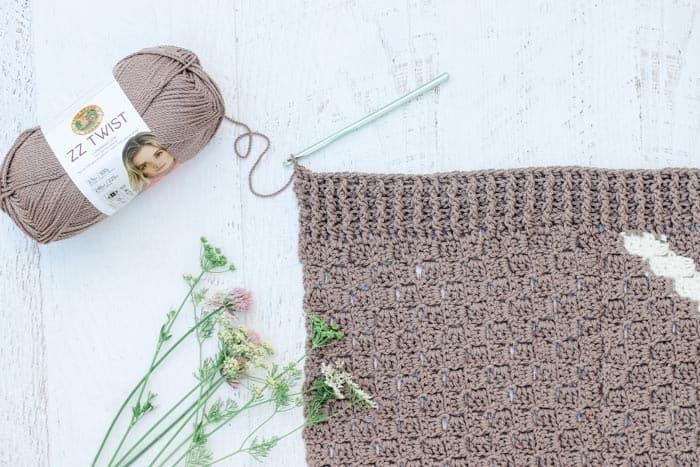 Free crochet kimono cardigan pattern made with Lion Brand ZZ Twist in Taupe and Ecru.