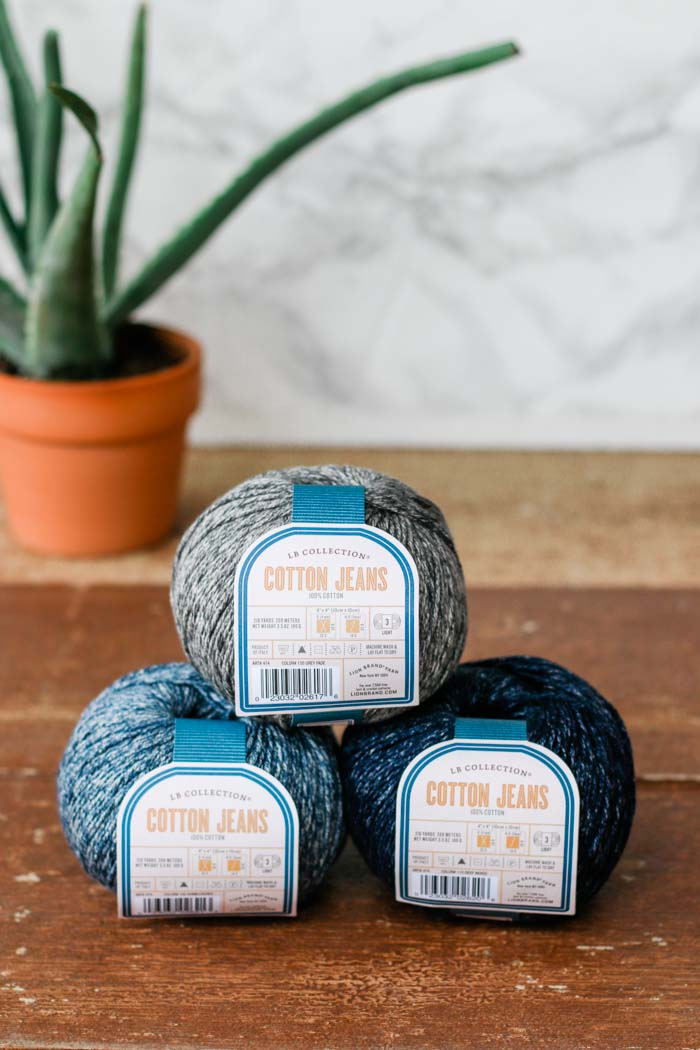 Lion Brand LB Collection Cotton Jeans yarn is a perfect DK weight yarn for summer crochet projects!