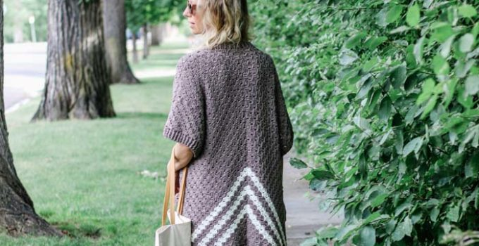 Easy C2C Crochet Kimono Sweater Made from Rectangles – Free Pattern!